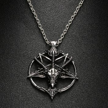 1Pcs Fashion Pentagram Pan God Skull Goat Head Pendant Necklace Luck Satanism Occult Metal Vintage Silver Star Necklace for Man