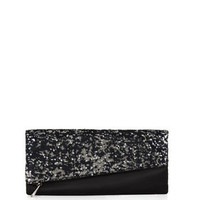Black BCBG Melody Asymmetrical Sequin Foldover Clutch