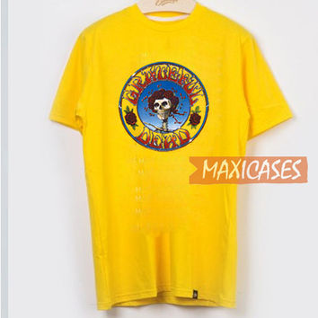 Grateful Dead Skull Yellow T Shirt Women Men And Youth Size S to 3XL