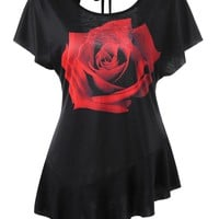 Asymmetrical Rose Cut Out T-shirt