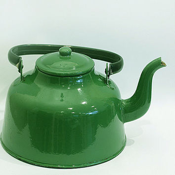 Large Soviet Vintage Green Enamel Kettle, Classic Teapot, Home Kitchen Decor USSR era