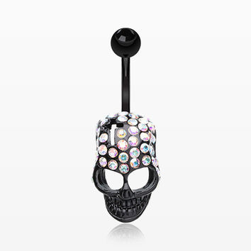 Skull Fury Multi-Gem Belly Button Ring