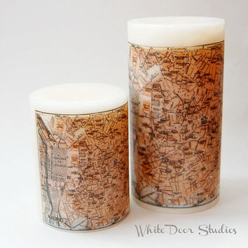 Antique Madrid Map Pillar Candle, Madrid Spain Travel Decor, Antique Maps, Map Candle, Decorative Candle