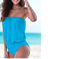 One Piece Fashionable Strapless Swimsuit