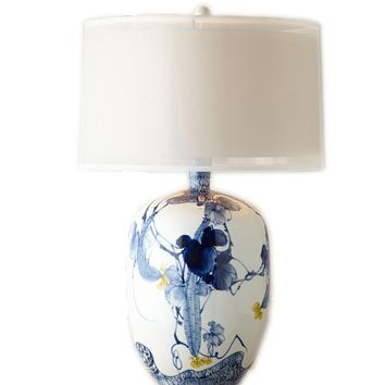 Chinese Classical Hand-painted Blue And White Porcelain E27 Table Lamp