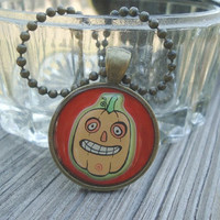 Funny Pumpkin Halloween Necklace By KKMaries