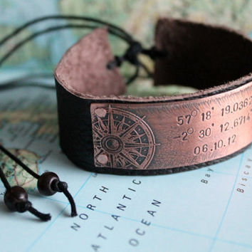 Co-ordinate Location Bracelet Longitude Latitude Leather Cuff Date