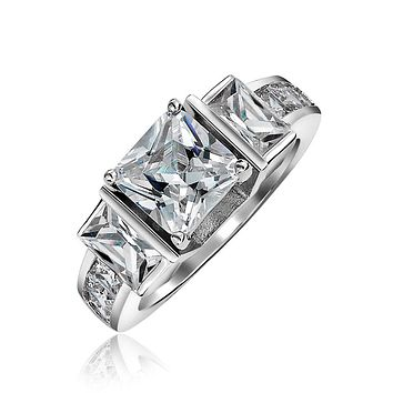 3CT Square Princess Cut 3 Stone CZ Engagement Ring 925 Sterling Silver