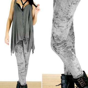 90's Silver Gray Grunge Crushed Velvet Leggings