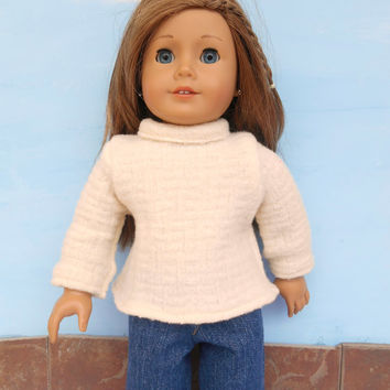 18 Inch Doll Sweater, Felted Wool Doll Sweater, Cream Doll Sweater, fits American Girl Dolls