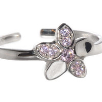 925 Sterling Silver Flower Toe Ring Pink CZ