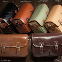 Genuine Leather Canon Nikon DSLR Camera Messenger Shoulder Bag