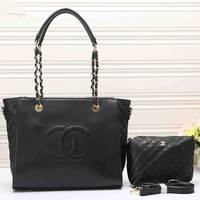 CHANEL Women Leather Luggage Travel Bags Tote Handbag Two Piece G-MYJSY-BB