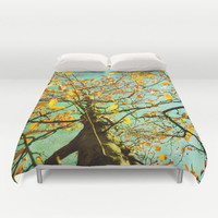Art Duvet Cover A Different Perspective photography home decor photograph aqua sky photo yellow nature tree bedding full queen king bedroom