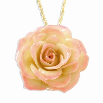 Lacquer Dipped Cream & Pink Rose Pendant w/ Gold-plated Chain