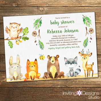 woodland baby shower invitation rustic woodland friends neutral baby shower invitations printable file