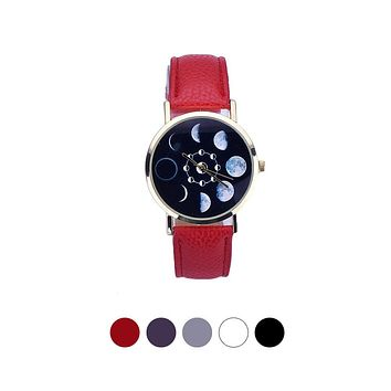Relogio Feminino 2017 Moon Phase Astronomy Watch Women Lunar Eclipse Pattern Leather Analog Quartz Wrist Watch  Casual Leather