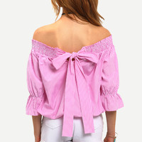 Hot Pink Striped Convertible Bow Blouse | MakeMeChic.COM