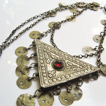 Antique Ottoman Silver Muskalik Amulet Necklace