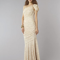 """David Meister Draped Gold Shimmer Gown """