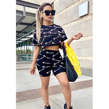 Champion Newest Hot Sale Women Casual Logo Print Short Sleeve Top Shorts Set Two-Piece Sportswear Black