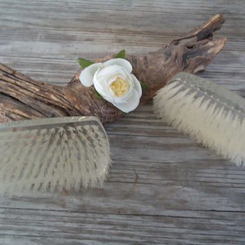 Mohawk Brush Set Clear Lucite Garment Brushes Nylon Bristles Vintage 1960s Lint Brushes