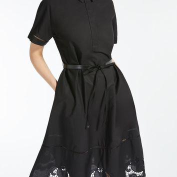 Cotton poplin dress, black - ALCALI Max Mara