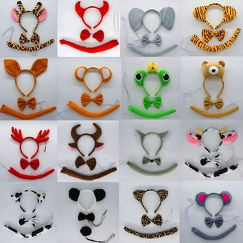 Kids Boy Girl Animal Ears Headband Bow Tie Tail Set Children Adults Cosplay Costume Accessories Dress Party Supplies Christmas