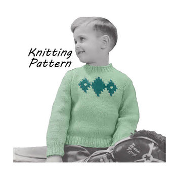 Toddler  Sweater with Diamond Pattern Knitting Pattern Sz 1, 2, 3, 4 || Vintage 1950's || Reproduction PDF Instant Download 5942-68