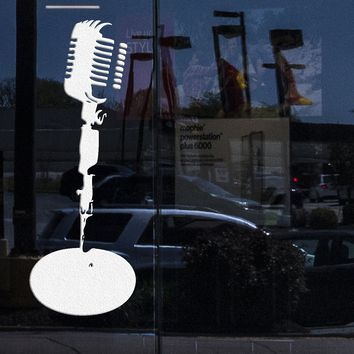 Window Mural and Wall Decor Microphone Stand Music Stage Jazz Vinyl Decal Art Sticker Unique Gift (M556w)