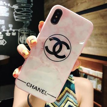 Stylish Women Chic Pink White Glass Mobile Phone Cover Case For iphone 6 6s 6plus 6s-plus 7 7plus 8 8plus X