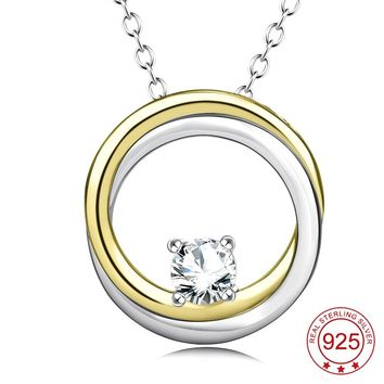YFN Genuine 925 Sterling Silver Circle of life Two Circles Interlocking Cubic Zirconia Pendants Necklaces Jewelry For Women
