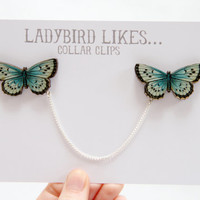Butterfly Wooden Collar Clips