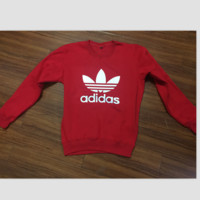 "Fashion ""Adidas"" Print Sweater Pullover Tops Sweater Sweatshirts Red white logo"