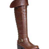Brown Faux Leather Fold-Over Boot