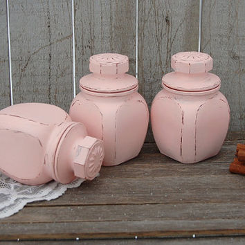 Spice Jars, Tea Jars, Canister Set, Bathroom Jars, Shabby Chic, Pink, Glass, Painted, Distressed