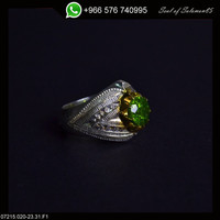 Sterling Silver Aquamarine Men Ring Persian Antique Design Genuine Gemstone Size 9.5 (Re-sizing is available for free)