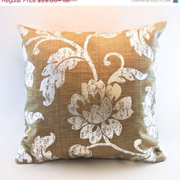 ChristmasinJulySALE Metallic silver floral on soft burlap look pillow cover
