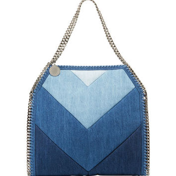 Stella McCartney Falabella Chevron Eco-Denim Small Tote Bag, Blue