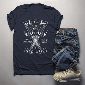 Men's Funny Mechanic T Shirt Sleep With Shirts Stay Lubricated Spark Plugs Graphic Tee