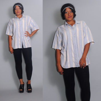 Vintage 1990s Blue white striped COTTON short sleeve OVERSIZED button down grunge preppy long shirt blouse pockets
