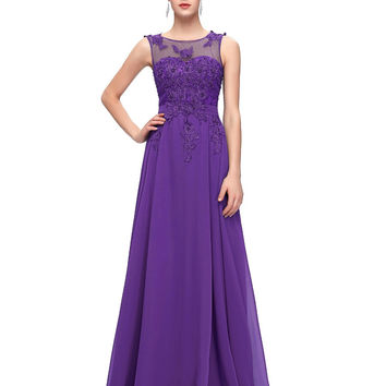 Grace Karin Backless Chiffon Cap Sleeve Prom Dresses Embroidery Pink Long Evening Gowns Floor length Formal Party Dress CL7555
