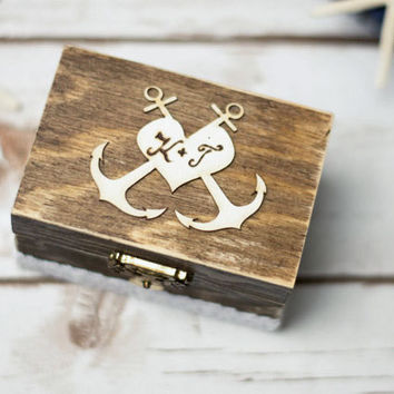 Wedding Ring Box Beach Wedding Ring Holder Anchor Personalized Rustic Ring Pillow
