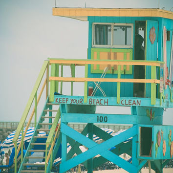"Beach Photography - Lifeguard Stand Photography  - Miami Beach Photography - ""Clean Beach"" - Pastel Colors - Cottage Decor, Shabby Chic"
