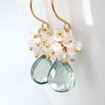 Teal Green Quartz With Moonstone Clusters Handmade by aubepine