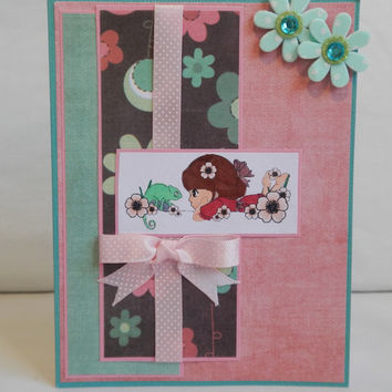 Spring Card, Paper Handmade Greeting Card, Flowers, Ribbon and Bows, Blue, Pink, Cute, Pretty