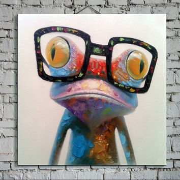 Oil Painting hand painted Oil Painting on Canvas Abstract Animal Wall Art for Home Decoration  Happy Frog / no frame AN-103