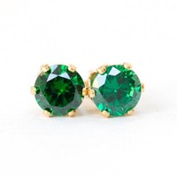 Cubic Zirconia Emerald Green CZ Gold Filled Pierced Handmade Earrin...... | SusanSheehan - Jewelry on ArtFire