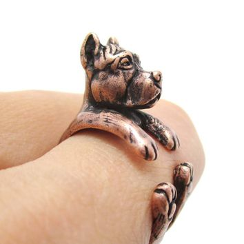 Realistic Pit Bull With Cropped Ears Shaped Animal Wrap Ring in Copper | Sizes 5 to 9