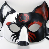 Trickster Twin Fox Mask Sumi-e Inspired Leather Fox Mask